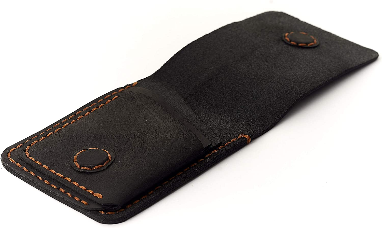 Cowhide Men Wallet   Black Color   Minimalist Wallet Design   Handmade Leather Accessories   Card Holder   Convenient Leather Sleeve   Idea Gift For Men