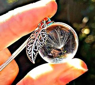 Regalo di Natale Ciondolo a foglia Catena in argento sterling e confezione regalo - Ciondolo dent di leone gioielli su mis...