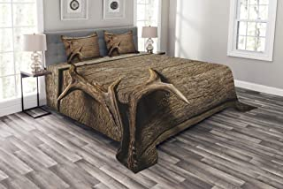 Ambesonne Antlers Bedspread, Deer Antlers on Wood Table...