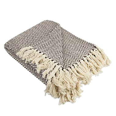 DII Rustic Farmhouse Cotton Chevron Blanket Throw with Fringe For Chair, Couch, Picnic, Camping, Beach, & Everyday Use , 50 x 60  - Mini Chevron Dark Brown