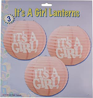 Beistle 3-Pack It's a Girl! Paper Lanterns, 9-1/2-Inch
