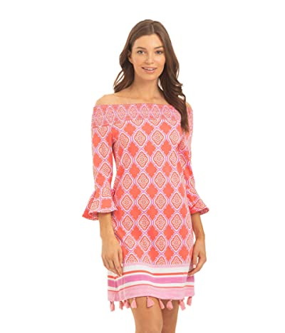 Cabana Life Geo Coverluxe Smocked Dress Cover-Up (Coral Multi) Women