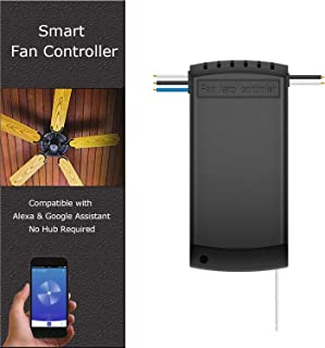 Smart Wifi Ceiling Fan Remote Controller Kit, Universal Ceiling Fan Light Remote Control & Receiver Complete Kit, Smart Fan Controller Compatible with Alexa Google, Phone APP Control, No Hub Required