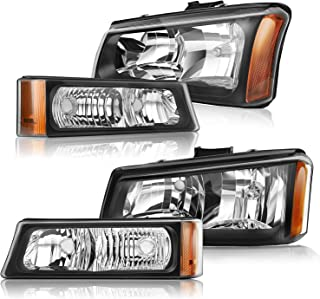 Nilight Headlight Assembly for 2003-2006 Avalanche 2003-2006 Silverado 1500 1500HD 2500 2500HD 3500 Black Housing Amber Corner Driver and Passenger Side