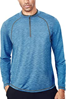 Men's Tech Quarter Zip Pullover Lightweight Running Top Dry Fit Zip T Shirt Men