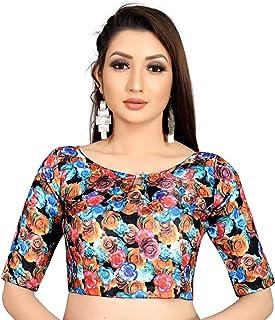 Ocean Fashion Women's Printed Satin Silk Readymade Saree's Blouse