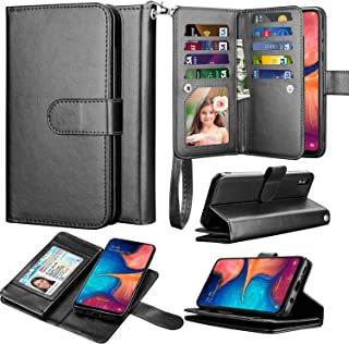 Takfox Galaxy A10e Case, Galaxy A10e Wallet Phone Case PU Leather Wallet Flip with 9 Card Slots/Holder [Wrist Strap] Magnetic Detachable Cover Case for Samsung Galaxy A10e (2019)-Black