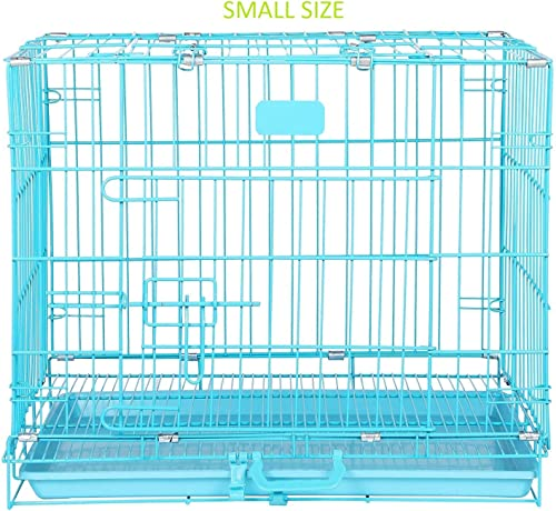 Naaz Pet Supplies Single Door Folding Metal Dog Cage/Crate/Kennel with Removable Tray (18 Inch, Blue)