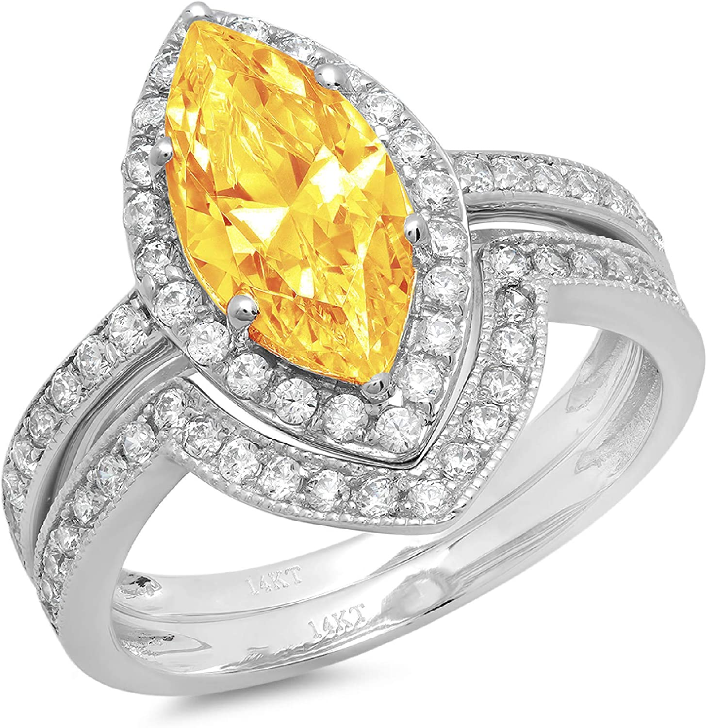 2.1ct Marquise Round Cut Pave Halo Solitaire with Accent VVS1 Ideal Natural Yellow Citrine Engagement Promise Designer Anniversary Wedding Bridal Ring band set 14k White Gold