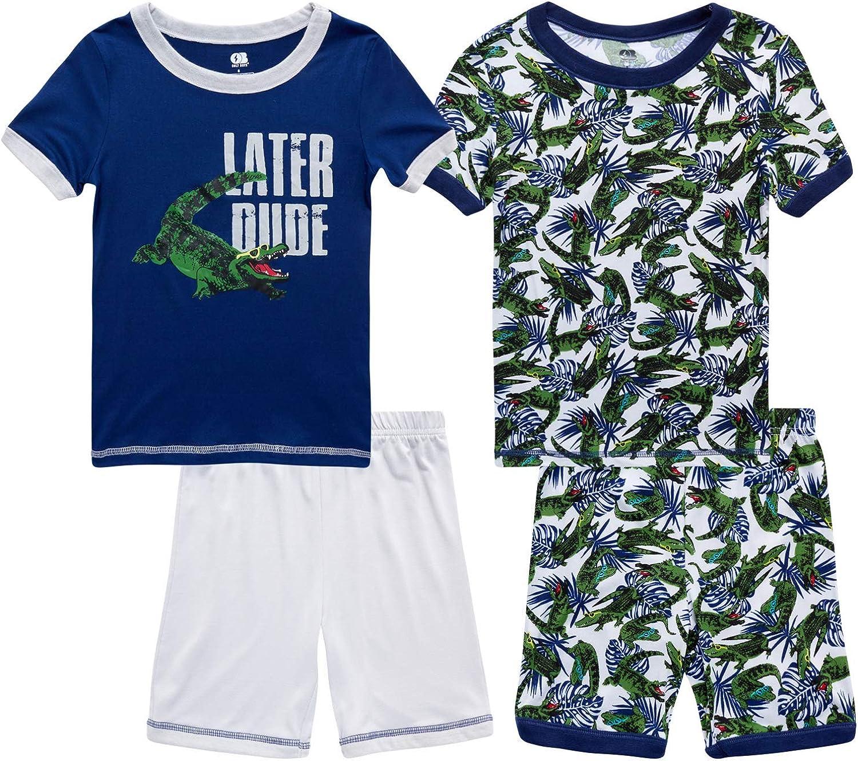 Only Boys Pajama Set - 4 Piece Super Soft T-Shirt and Sleep Shorts Sleepwear Set