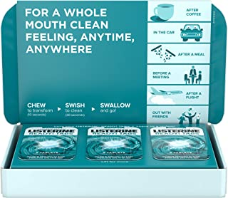 Listerine Ready! Tabs Chewable Tablets with Clean Mint Flavor, Revolutionary 4-Hour Fresh Breath Tablets to Help Fight Bad Breath On-the-Go, Sugar-Free, Alcohol-Free & Kosher, 56 ct