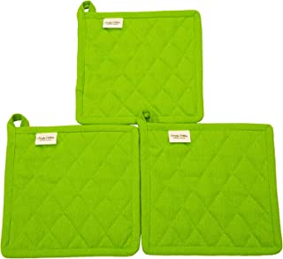Pot Holder, Set of 3, 100% Cotton, cotton fabric quilted, 8