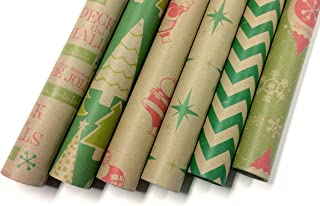 Note Card Cafe Bella Kraft Christmas Wrapping Paper | 6 Pack | 30 x 120 in rolls | Retro, Minimal Holiday Designs | Holidays, Christmas, Gifts, Presents, Exchanges, Showers | Recyclable, Biodegradable