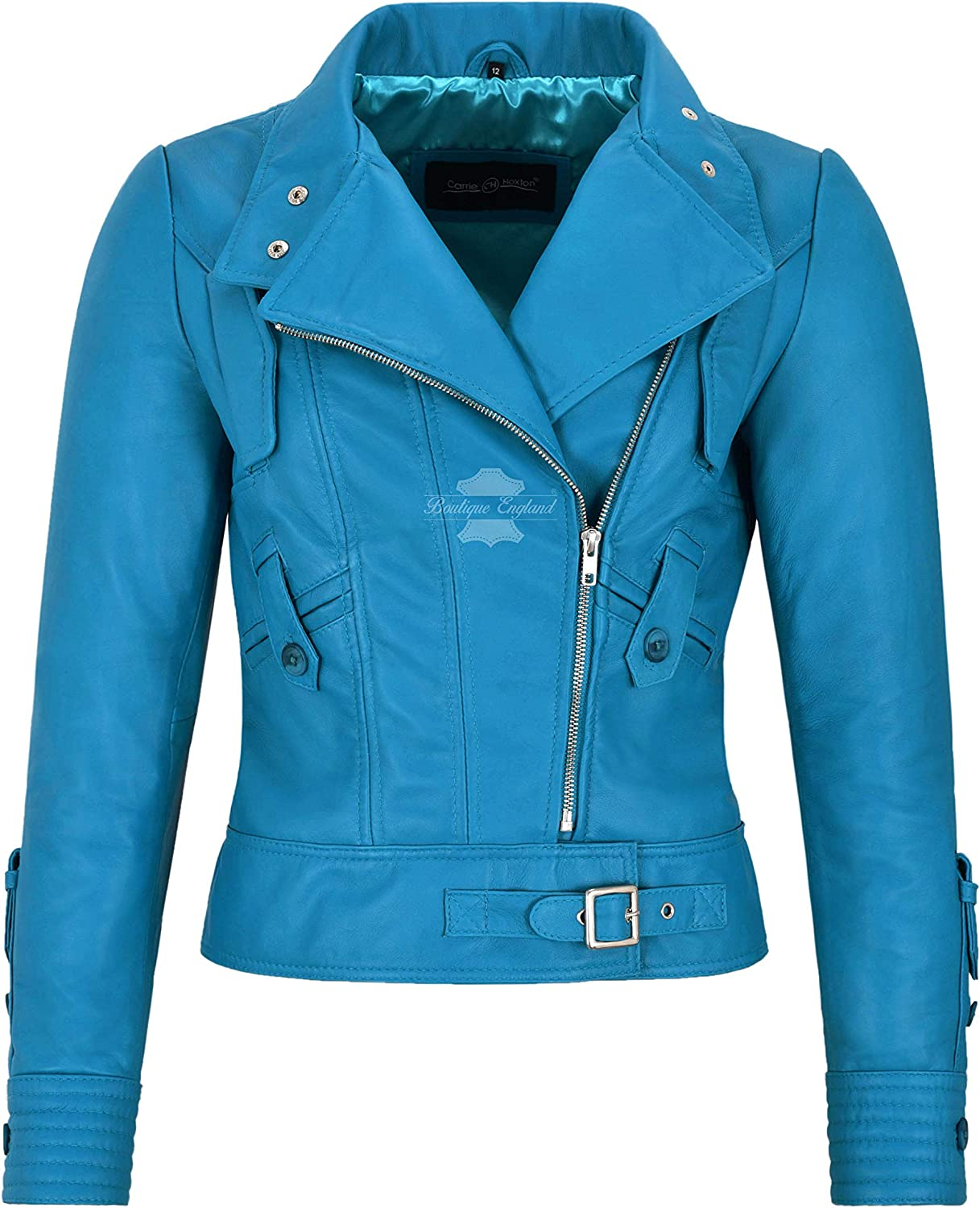 Carrie CH Hoxton Ladies Supermodel Biker Jacket Electric bluee Light Soft Leather Leather 4110