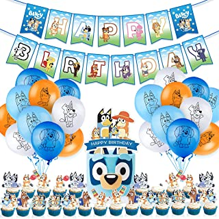 CANPA Bluey Party Supplies, Birthday Party Decorations Set of 4 Include Banner, Balloons, Cake Topper, Cupcake Toppers, 46...