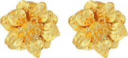 Satin Gold Flower Clip Ear Earrings