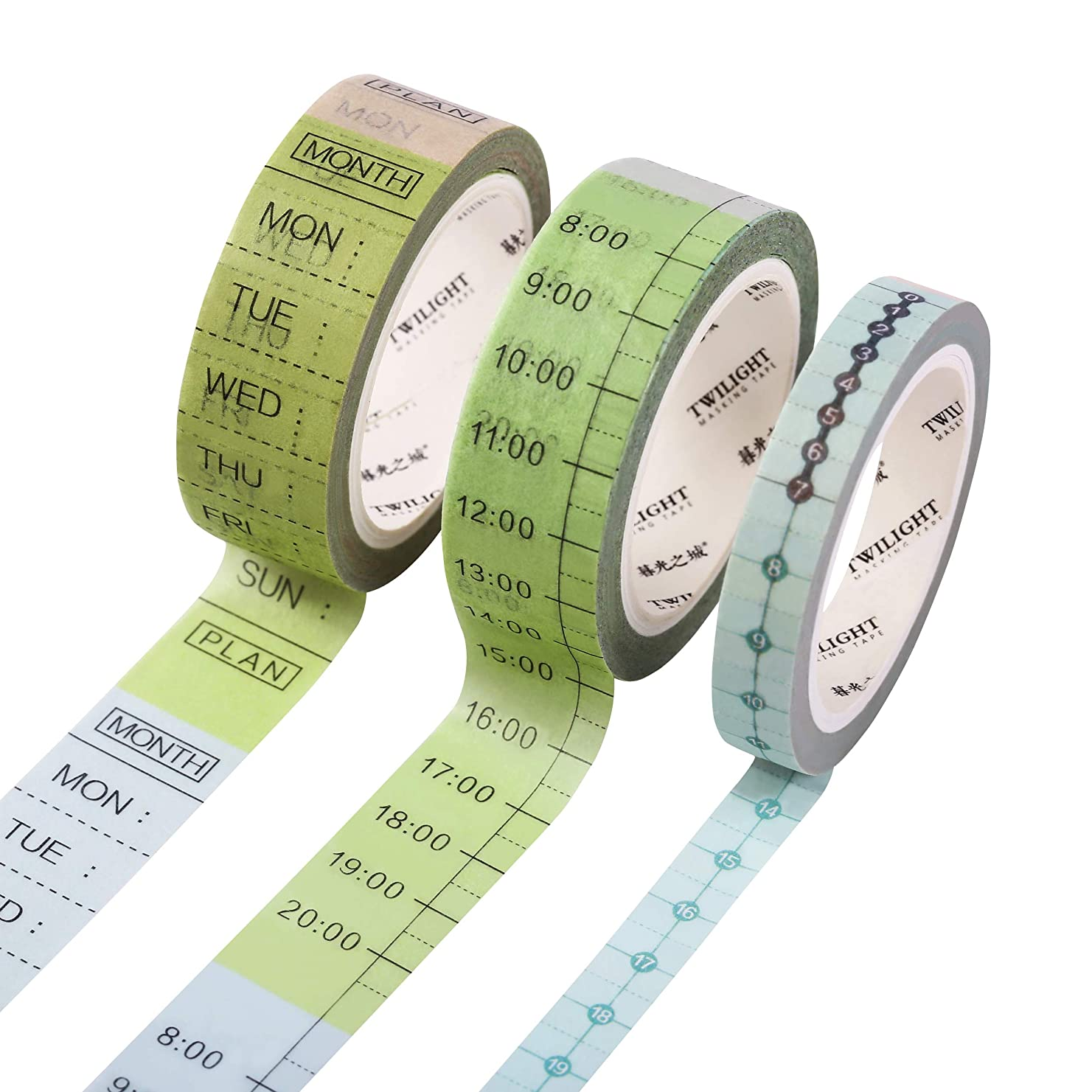 SKYDUE 3 Rolls to Do List Washi Tape Set,15mm Wide Masking Tape for Weekly & Daily Plan, 8mm Hourly Tape, for Bullet Journal, Planner, School, Office with Timeline