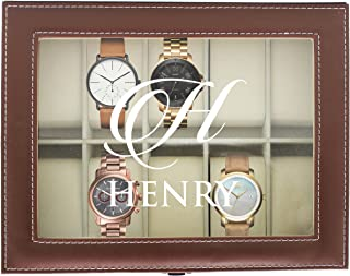 Personalized Watch Storage Box - Custom Engraved Leather Watch Holder Case