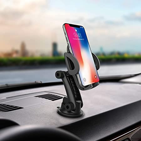 Car Phone Holder Mobile Phone Mount quickw Universal Phone Holder Compatible iPhone Xs XS Max XR X 8 8 Plus 7 7 Plus Samsung S20 Ultra Dashboard Windshield Strong Suction 2020 Upgraded (Black)