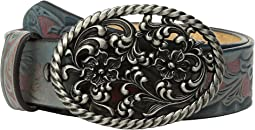 Floral Scroll with Oval Buckle Belt