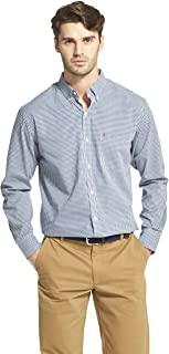 IZOD Men's CLEARANCE Button Down Long Sleeve Stretch Performance Gingham Shirt
