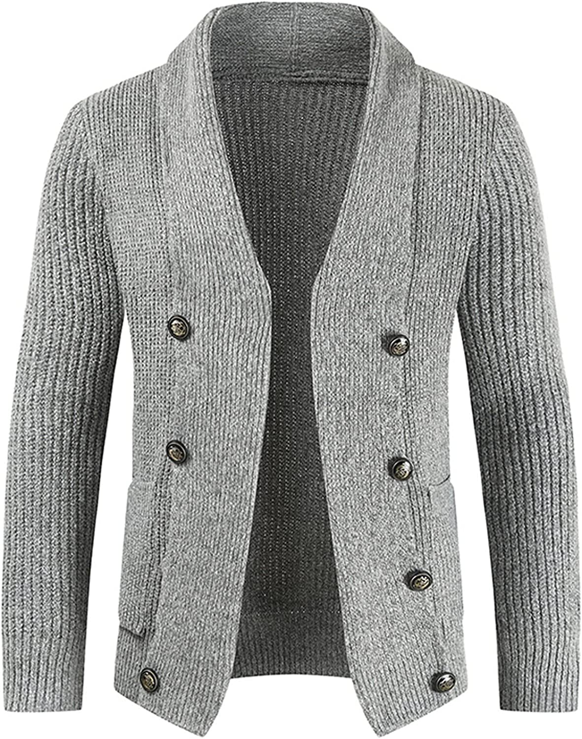 Huangse Mens Shawl Collar Knitted Cardigan Button Down Raglan Sleeve Ribbed Hem V Neck Sweaters Autumn Winter Knit Jacket