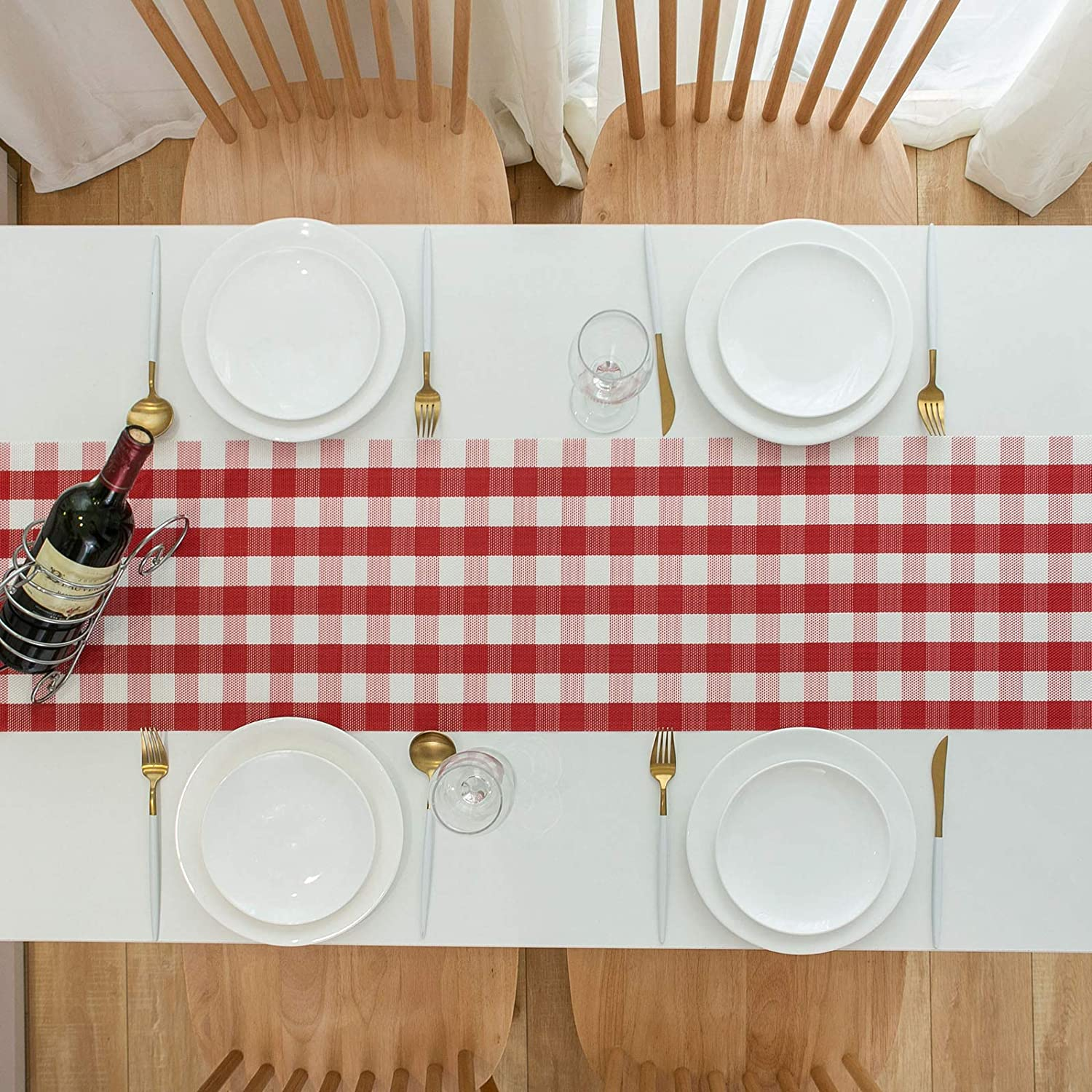 DOLOPL Buffalo Check Table Runner Black and White Table Runners 12/×72 PVC Easy to Clean Wipeable Washable Modern Farmhouse Table Runner for Dining Kitchen Table Halloween Thanksgiving Decorations
