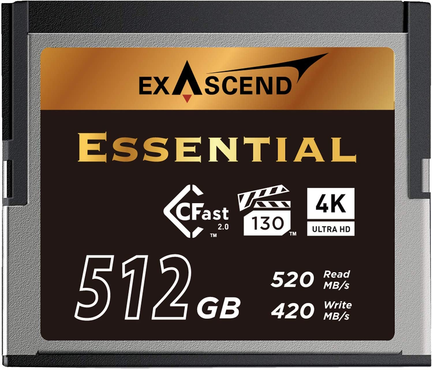 Exascend Essential 512GB CFast 2.0 Memory Card, up to 520MB/s, Certified for Blackmagic URSA Mini Pro 12K, Canon XC15/C300MKII, and More