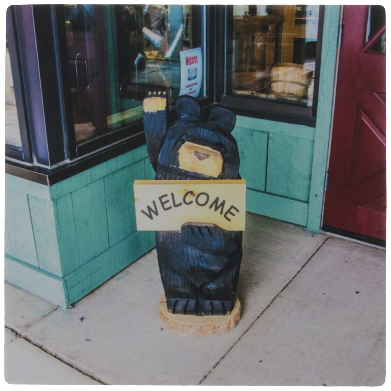 3dRose LLC 8 x 8 x 0.25 Inches Mouse Pad, A Bear Sign That Says Welcome Near Yellowstone National Park - (mp_181817_1)