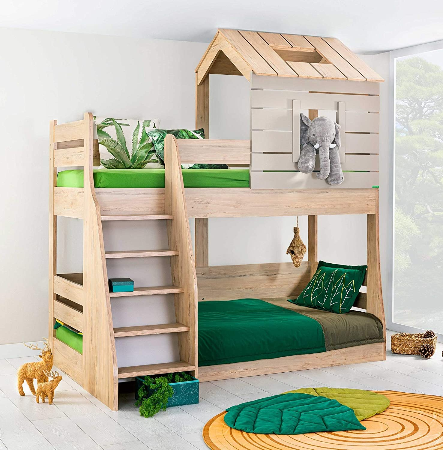 Kidomate My House Bunk Bed For Boys Girls Elegant Wood Finish Furniture That Suits Every Bedroom Amazon In Home Kitchen