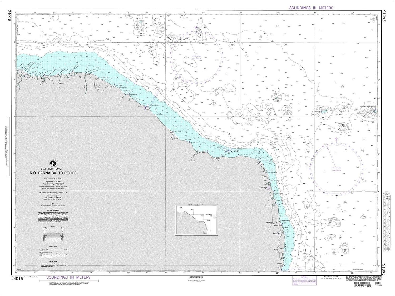 NGA Chart 24016 Rio Parnaiba to Recife 40  x 30  Laminated Map