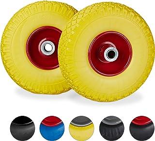 Relaxdays, geel-rood 2 x steekwagenwiel, lekvrije massief rubberen banden, 3,00-4 inch stalen velg, 20 mm as, 100 kg, 260 ...