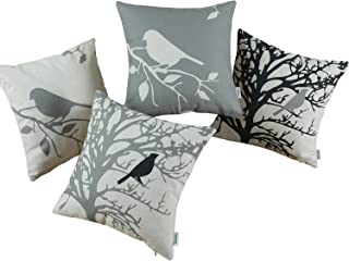 CaliTime Set of 4 Canvas Throw Pillow Covers Cases for Couch Sofa Home Decoration Vintage Birds Tree Branches Silhouette 18 X 18 Inches Black/Medium Grey