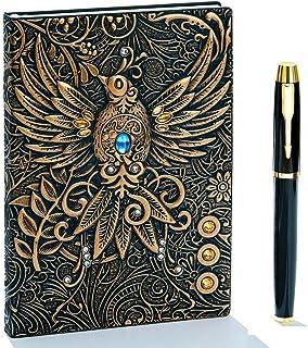 SIPLIV set di pennarelli fatti a mano in vetro 1 penna in vetro -azzurro 1 portapenne set regalo 6 pezzi con inchiostro a 4 colori penna 3d per calligrafia con disegno del pianeta in cristallo
