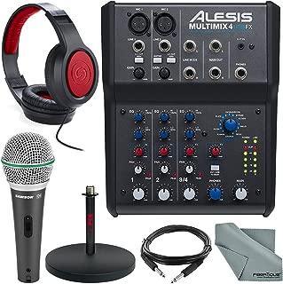 Alesis MultiMix 4 USB FX 4-Channel Mixer & USB Audio Interface Deluxe Bundle w/Microphone + Headphones + Cables + Mic Stand + Fibertique Cloth
