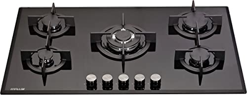 Millar GH9051PB Plaque de cuisson en Verre trempé avec 5 brûleurs à gaz Noir 90 cm / Table de Cuisson…