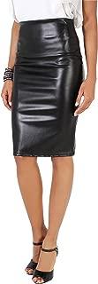 Krisp Womens PU Wet Look Stretch PU Leather Pencil Bodycon High Waist Skirt