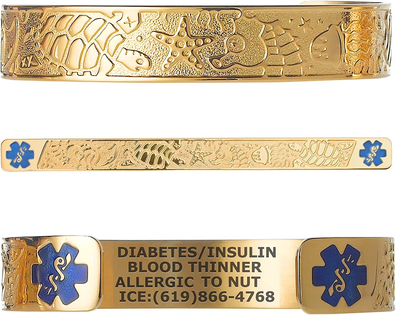 Divoti Custom Engraved Medical Alert Bracelets for Women, Stainless Steel Medical Bracelet, Medical ID Bracelet w/Free Engraving - Living Sea w/ 6