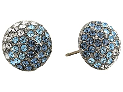Nina Small Paved Button Earrings (Black Rhodium/Ombre Denim Blue Multi) Earring