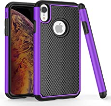 TILL for iPhone XR Case, TILL(TM) [Purple] [Shock Absorption] 2 in 1 Dual Layer Hybrid Soft Silicone + Hard Plastic Armor Defender Non Slip Protective Combo Case Cover Shell for Apple iPhone XR 2018