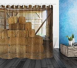 gwegvhvg - Ganchos para Cortina de Ducha (Tela Impermeable, 183 x 183 cm), diseño rústico de heno en el Viejo Granero