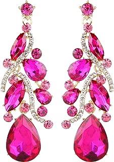 Women's Bohemian Boho Crystal Multi Teardrop Filigree Cluster Chandelier Dangle Earrings