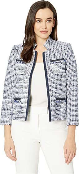Boucle Open Jacket with Pockets and Fray
