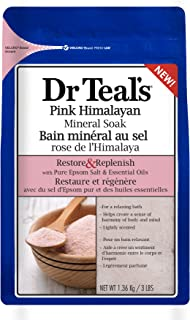 Dr Teal's Restore & Replenish Pure Epsom Salt & Essential Oils Pink Himalayan Mineral Soak 48 oz