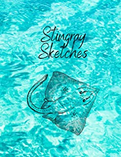 "Stingray Sketches: Fun Animal Sketchbook, 120 Blank White Pages, Handy Larger Size (8.5""x11""), High Quality matte cover. I..."