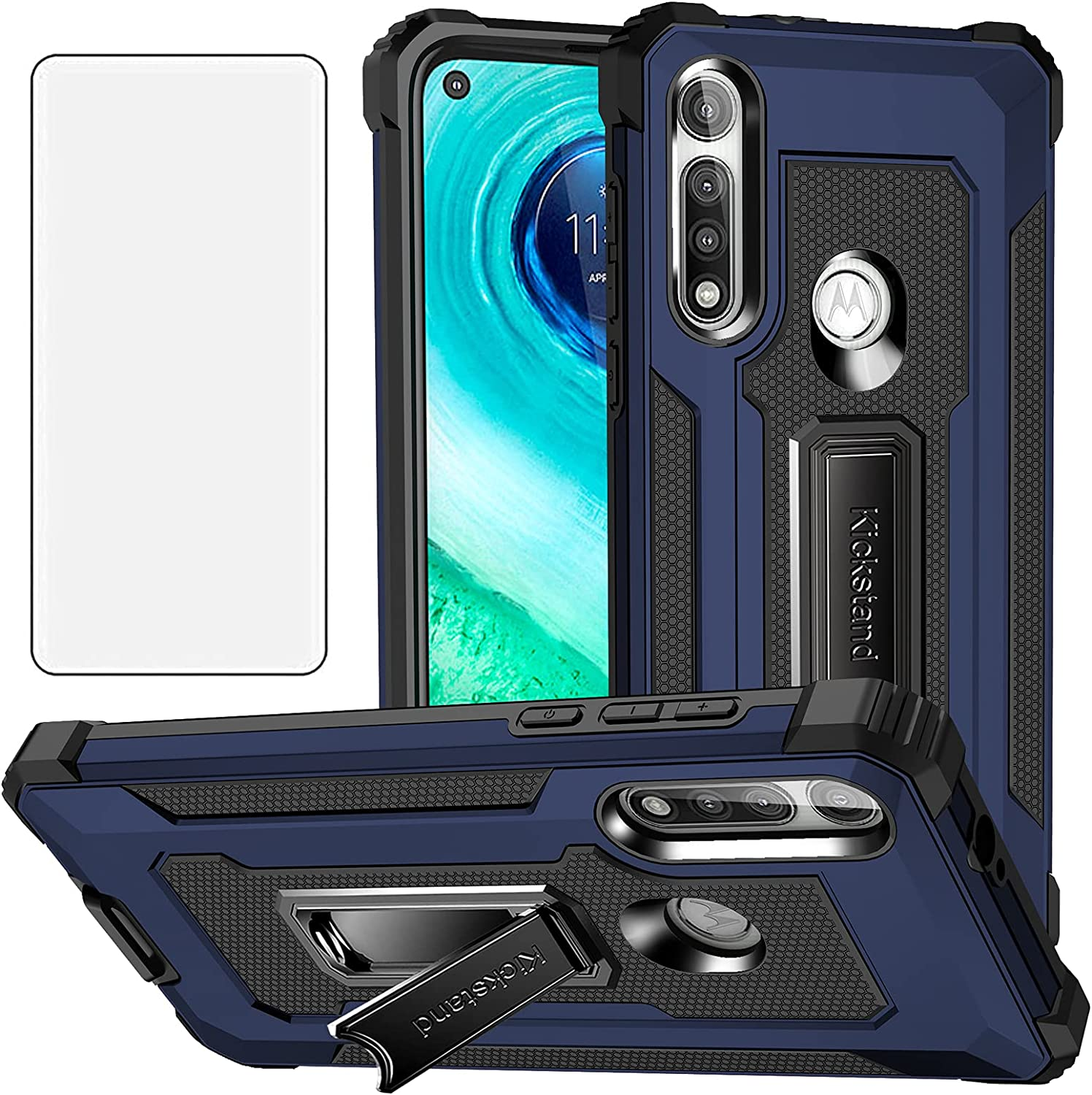 Asuwish Compatible with Moto G Fast 2020 Case and Tempered Glass Screen Protector Cover Stand Ring Holder Kickstand Cell Accessories Phone Cases for Motorola GFast XT2045-3 Women Men Blue