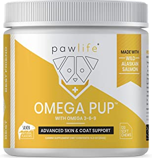 pawlife Omega 3 for Dogs - Salmon Fish Oil Supplement formulated with Omega 3 6 and 9 for Dog Skin, Coat and Allergy Support from Wild Alaskan Salmon Oil - 120 Salmon Flavor Soft Chews