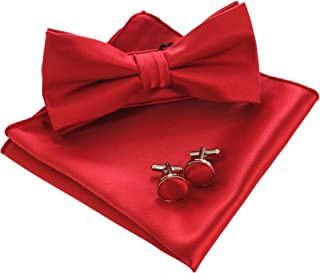 Mens Solid Color Pre-tied Bow Tie and Pocket Square Cufflink Set