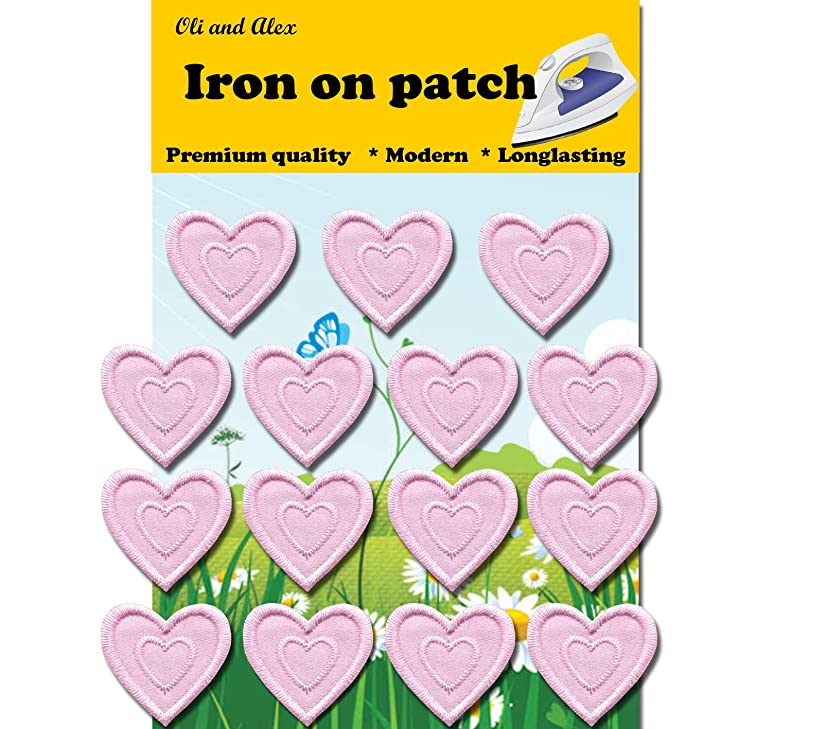 Iron On Patches - Light Pink Heart Patch 15 pcs Iron On Patch Embroidered Applique 1.29 x 1.22 inches (3.2 x 3.1 cm) A141