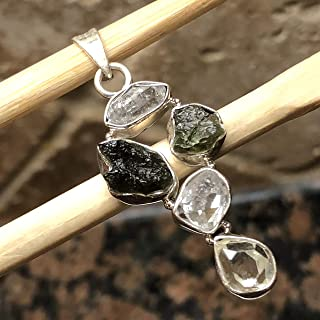 Natural Green Czech Republic Moldavite, Herkimer Diamond 925 Sterling Silver Healing Stone Cluster Pendant 50mm Long